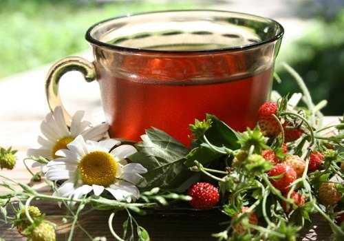 Кружка с чаем из сушеных листьев земляники