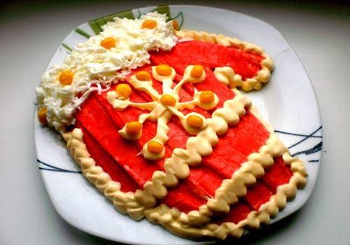 Тарелка с салатом Варежка Деда Мороза