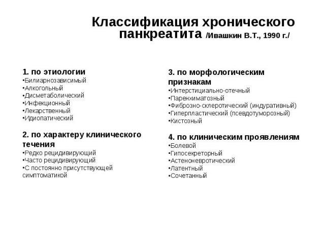 разновидность болезни по Ивашкину В.Т.