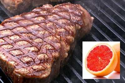 Говяжий стейк и красный грейпфрут