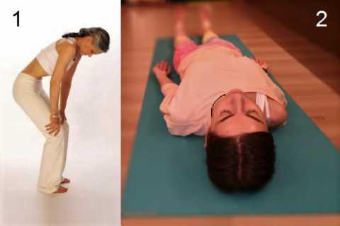 На фото: 1 – исходное положение для Наули и Агнисара Дхаути, 2 – Шавасана