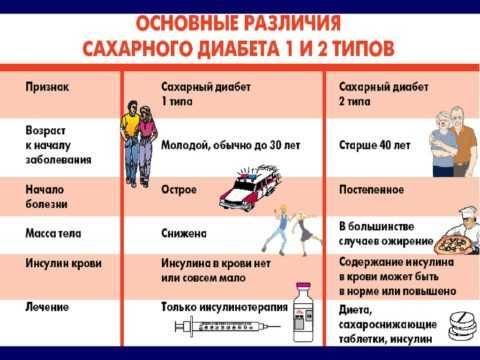 Таблица 1. Два типа диабета