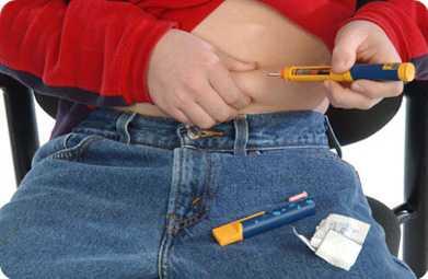 Введение инсулина в живот