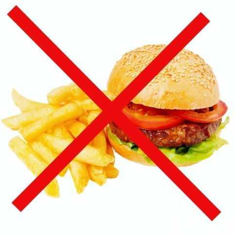 Запрещено употреблять продукты быстрого питания