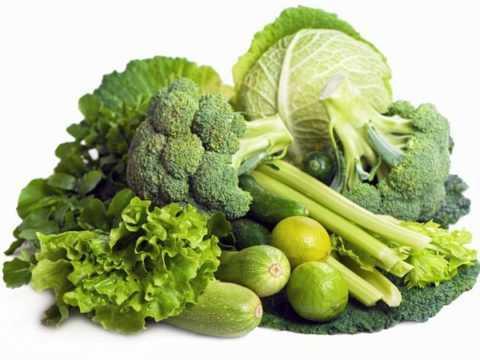 Зеленые овощи наиболее предпочтительны.