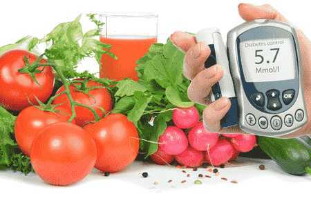 овощи и измеритель сахара
